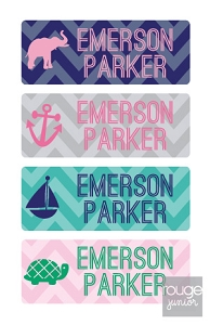 waterproof name labels - set of 72 - CHEVRON