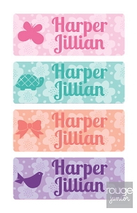 waterproof name labels - set of 72 - FLOWERS