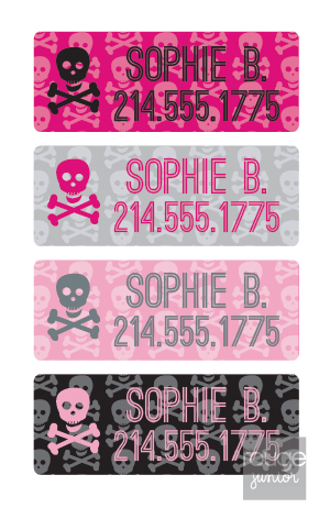 peel & stick clothing name labels - set of 64 - PINK SKULLS