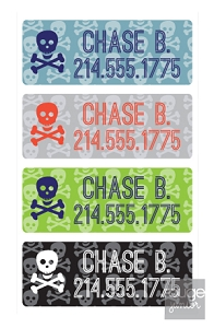peel & stick clothing name labels - set of 64 - SKULLS