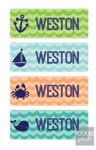 waterproof name labels - set of 72 - WAVES