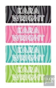 peel & stick clothing name labels - set of 64 - ZEBRA