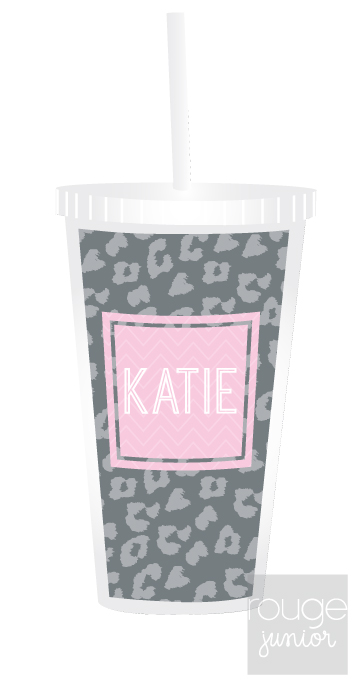 Personalized Acrylic Straw Tumbler - CHEETAH