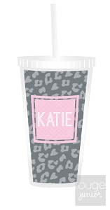 cheetah straw tumbler