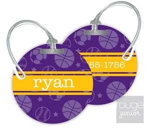 Personalized round premium bag tag - set of 2 - ALL STAR