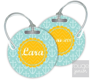 Personalized round premium bag tag - set of 2 - ANCHORS