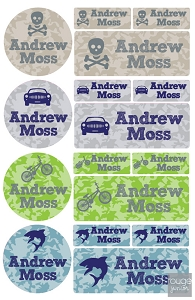 iron-on clothing name labels combo - set of 48 - CAMO ICONS