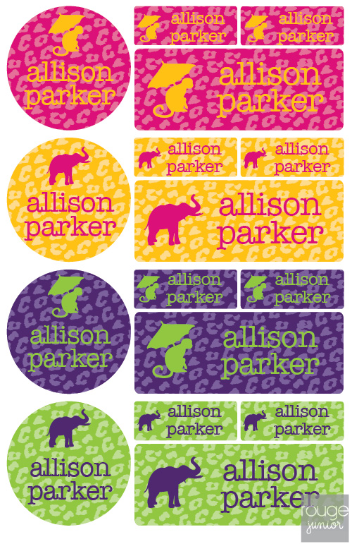 iron-on clothing name labels combo - set of 48 - CHEETAH
