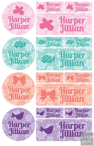 iron-on clothing name labels combo - set of 48 - FLOWERS