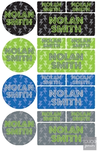 iron-on clothing name labels combo - set of 48 - LIGHTNING