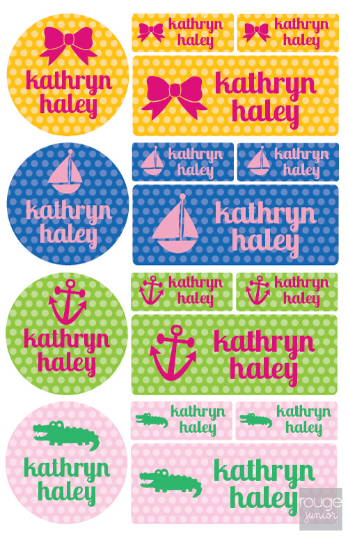 iron-on clothing name labels combo - set of 48 - POLKA DOT