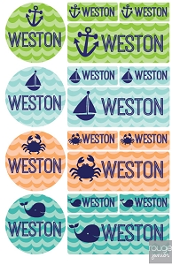 iron-on clothing name labels combo - set of 48 - WAVES