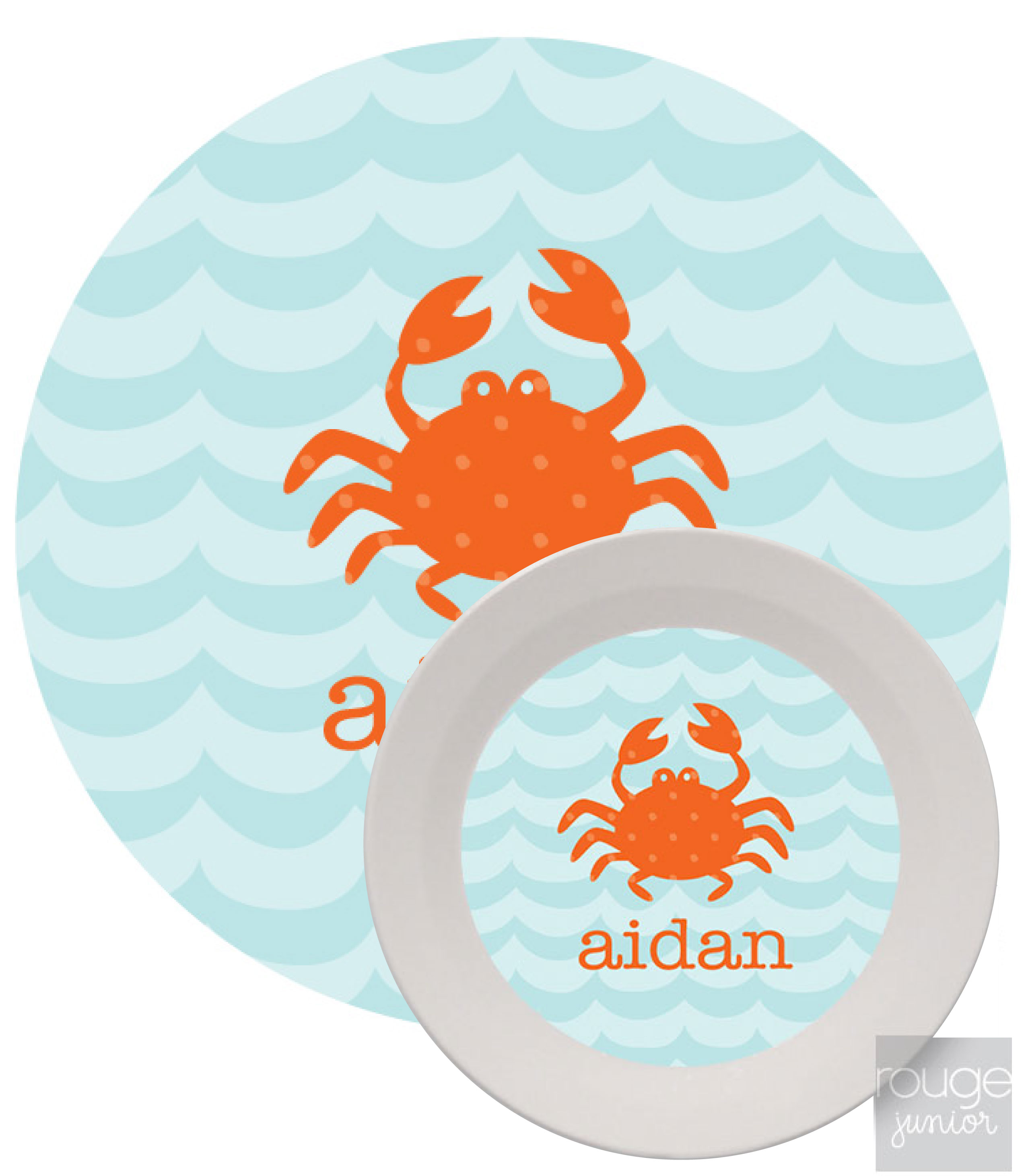 Personalized Kids Melamine Dinnerware - WAVES
