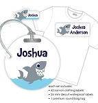 Kids Waterproof & Clothing Name Labels & Bag Tag Packs - Shark