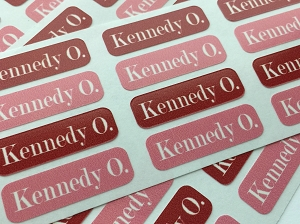 waterproof name labels - set of 64 - CHERRY