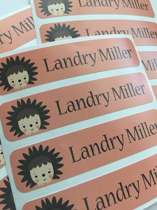 waterproof name labels - set of 24 -  HEDGEHOG