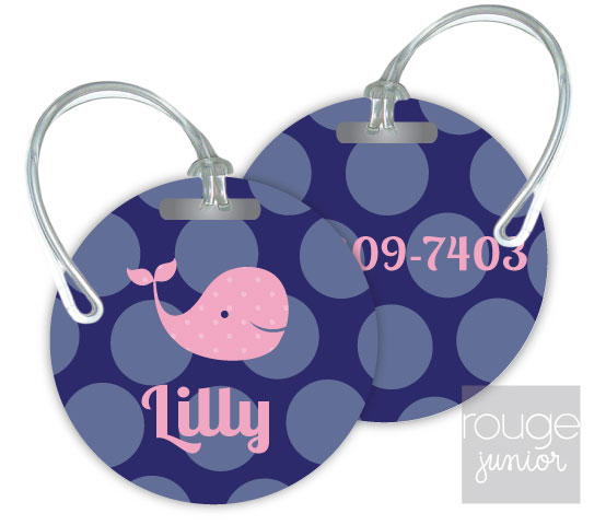 Personalized round premium bag tag - set of 2 -BUBBLE DOTS