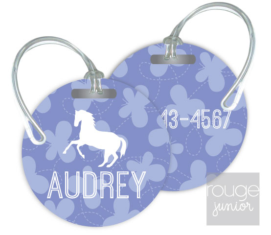 Personalized round premium bag tag - set of 2 -BUTTERFLIES