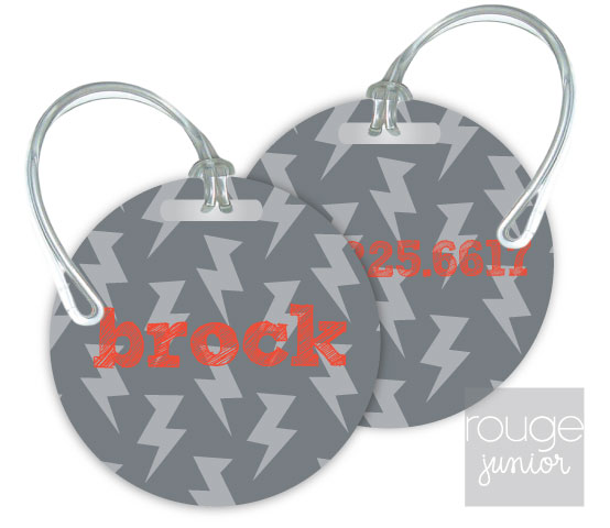 Personalized round premium bag tag - set of 2 - LIGHTNING