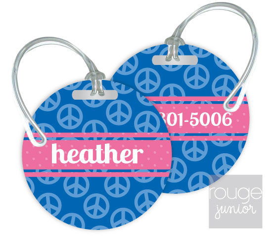 Personalized round premium bag tag - set of 2 - PEACE