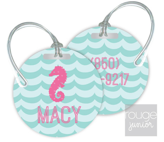 Personalized round premium bag tag - set of 2 - WAVES