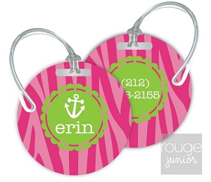 Personalized round premium bag tag - set of 2 - ZEBRA
