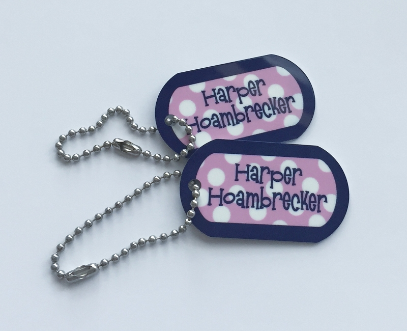 Personalized dog tags - set of 2 - SAILOR PINK