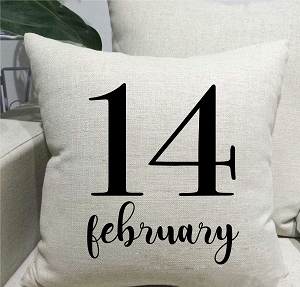 February 14 Linen Throw Pillow