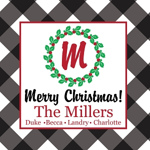 Personalized Christmas Gift Tag Stickers - Buffalo Check - Black - set of 24