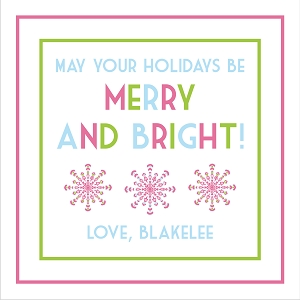 Personalized Christmas Gift Tag Stickers - Merry and Bright - set of 24