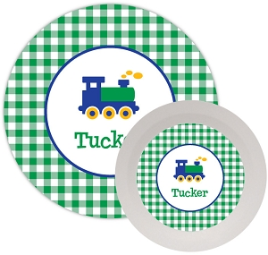 Personalized Kids Melamine Dinnerware - TRAIN