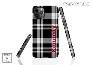 Personalized iPhone Case - BLACK & WHITE PLAID