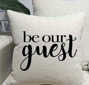 Be Our Guest Linen Throw Pillow