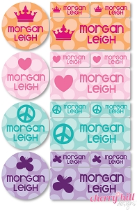 iron-on clothing name labels combo - set of 48 - BUBBLE DOTS