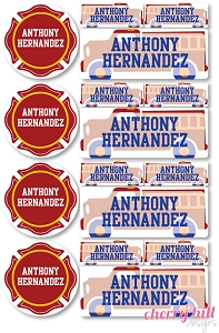iron-on clothing name labels combo - set of 48 - FIRE TRUCK