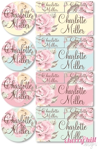 iron-on clothing name labels combo - set of 48 - FLORAL