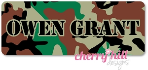 Iron-on Clothing Name Labels - set of 42 - CAMO BROWN