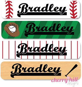 waterproof name labels - set of 24 - BASEBALL