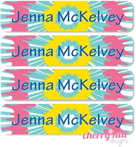 waterproof name labels - set of 24 - TIE DYE BLUE