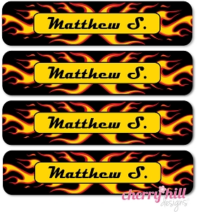 waterproof name labels - set of 24 - CHOPPER FLAMES