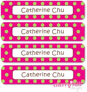 waterproof name labels - set of 24 - CONFETTI MAGENTA