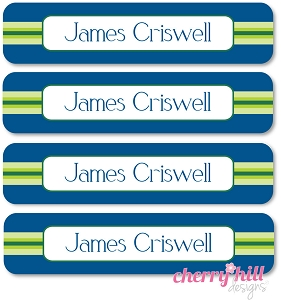 waterproof name labels - set of 24 - PREPPY BLUE