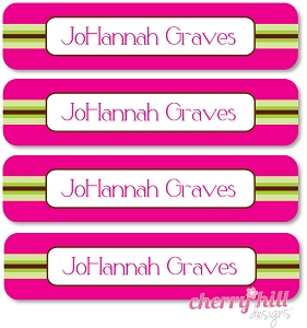 waterproof name labels - set of 24 - PREPPY PINK