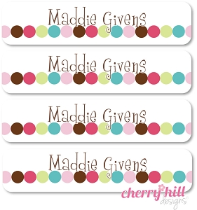 waterproof name labels - set of 24 -  DOT DOT DOT PINK