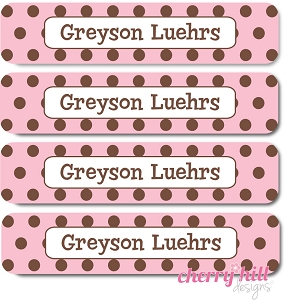 waterproof name labels - set of 24 - CHOCOLATE DOTS PINK