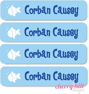waterproof name labels - set of 24 - FISH