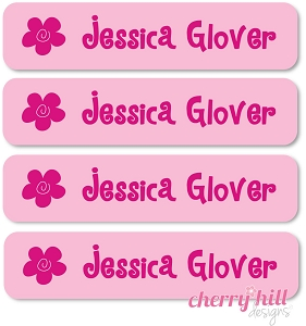 waterproof name labels - set of 24 - FLOWER