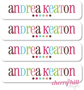 waterproof name labels - set of 24 - GOOD CHEER PINK