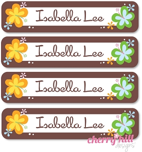 waterproof name labels - set of 24 - HAWAIIAN FLOWER