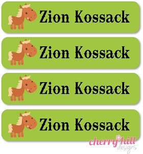 waterproof name labels - set of 24 -  HORSE